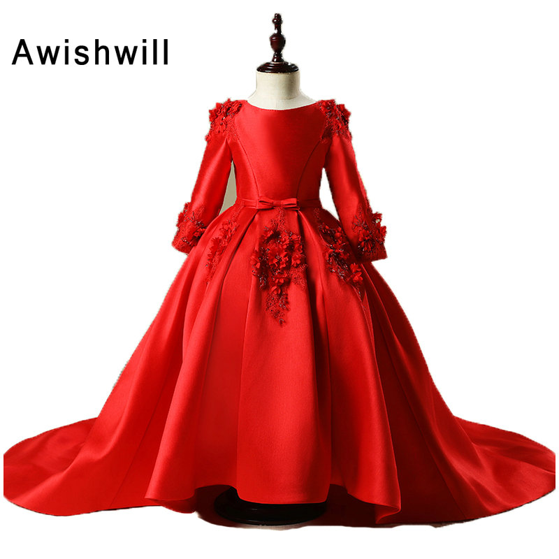 Romantic Red Ball Gown   Flower     Girl     Dress   2019 Long Sleeve Weddings   Girl   Party Communion   Dress   With Long Train Pageant Gown
