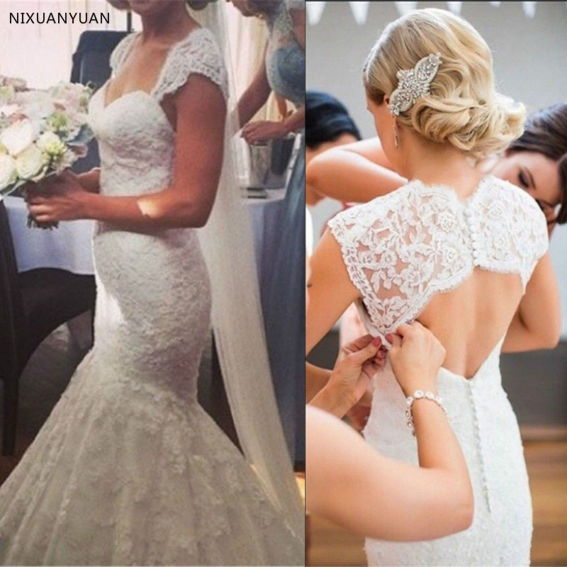2019 Sexy Mermaid Wedding Dresses Luxury Robe De Mariee Bridal Dress Backless Cut-out Appliques Vestido De Noiva