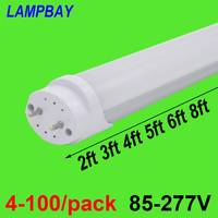 4 100/pack LED Tube Light 2ft 3ft 4ft 5ft 6ft Retrofit Bulb T8 G13 Bi pin Fluorescent Lamp 0.6m 0.9m 1.2m 1.5m 1.8m Bar Lighting