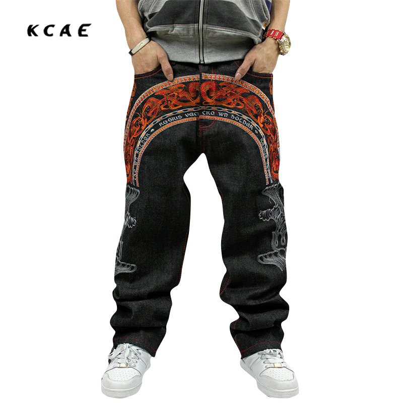 ФОТО 2016 New design new boy's baggy jeans embroidery mens hip hop loose trousers big size rap pants for rapper's waist size 30-44