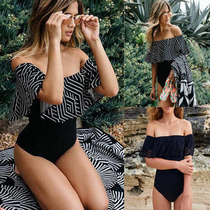 Swimwear Women Bikini Push-Up Off-Shoulder Plus-Size Lace Top Ruffle Brazilian