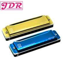 JDR Blue Gold Harmonica 10 Holes Key of C for Blues Rock Jazz Folk Harmonicas New Diatonic Harp Musical Instrument недорого