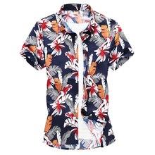 2019 New Shirt Men Clothing Short Sleeve Mens Dress Shirts Camisa Masculina Summer Hawaii Casual Male Flower Printed 7XL