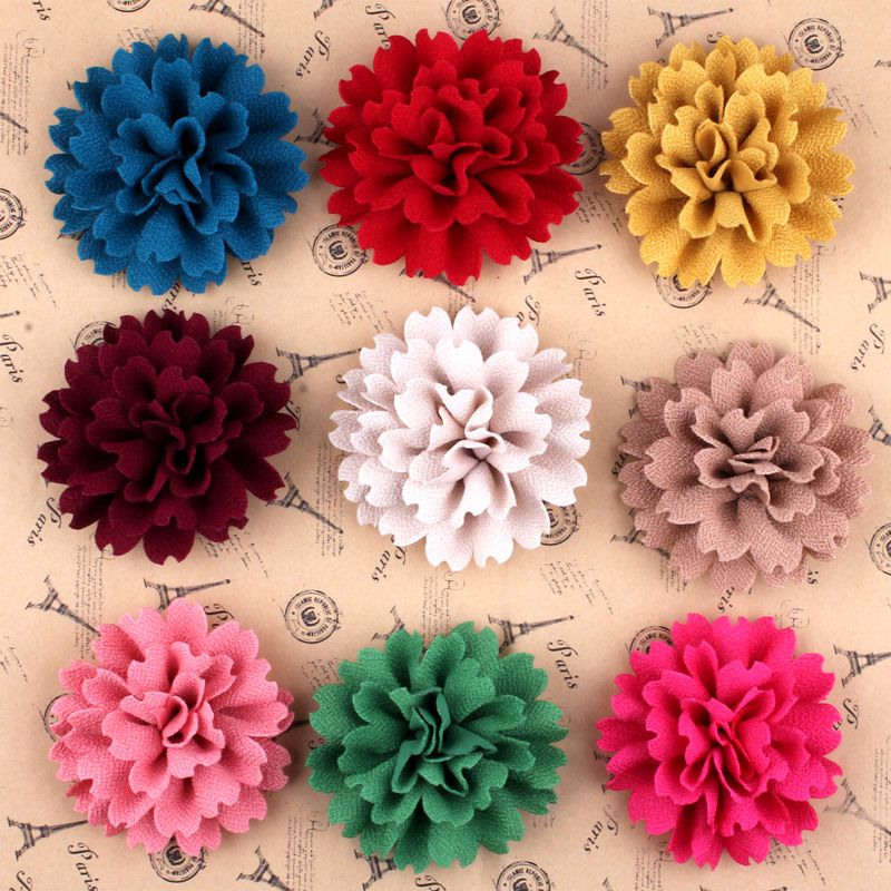 120pcs 3 8 9 Colors New Arrived Blossom Scalloped Flower Accessories For Headband High Qulity Fabric