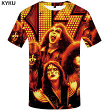 KYKU Rock Band T shirt Kiss Clothes  Tshirt Tees Tops Clothing Men 3d T-shirt T-shirts Mens Ftness New