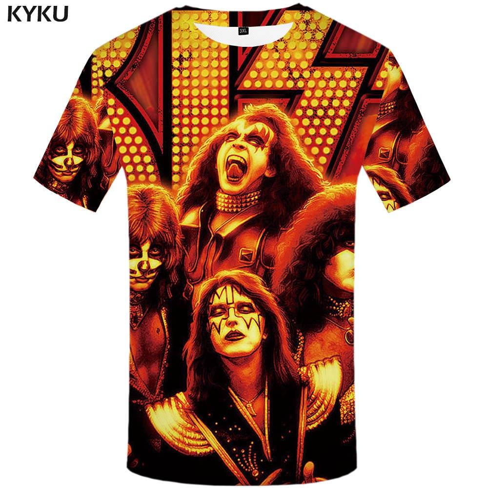 KYKU Rock Band   T     shirt   Kiss Clothes Tshirt Tees Tops Clothing Men 3d   T  -  shirt     T  -  shirts   Mens Ftness New