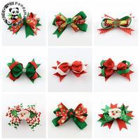 9 unids Navidad pelo Clips, grosgrain bowknot, hierro Pinzas de cocodrilo, color mezclado, 85 ~ 125x125 ~ 135mm; Clip: 56x8mm