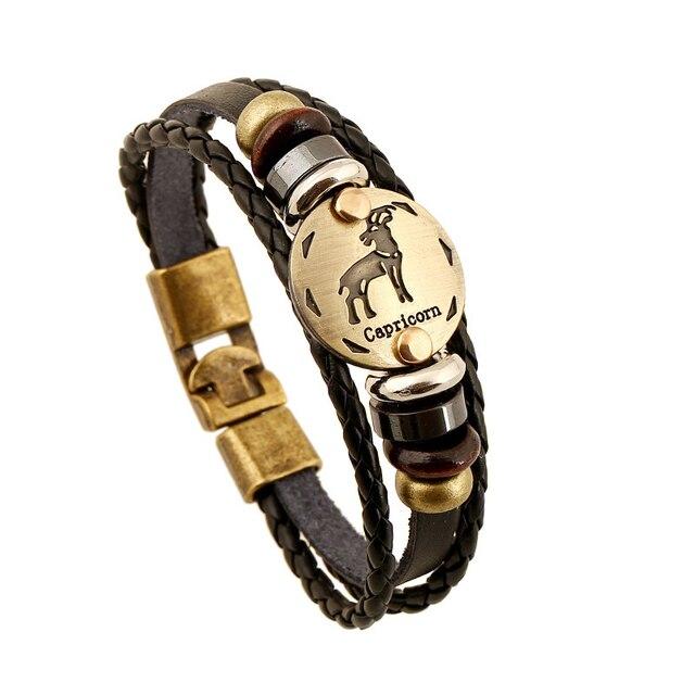 Drop shipping 12 Constellations Jewelry Fashion Capricorn Bracelet length19 cm to 25cm High Quality Leather Bracelet B18202