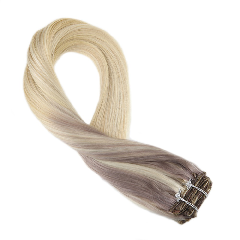 Moresoo Clip In Hair Extension Balayage Color #18 Fading To #22 And #60 Remy Hair Extension Full Head Set Straight Hair 7Pcs