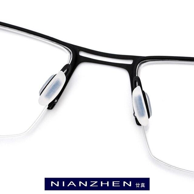 Lunettes de vue en titane pur pour hommes | Monture de lunettes, myopie carrée, montures optiques, lunettes Ultra légères, demi-sans bords, 1172