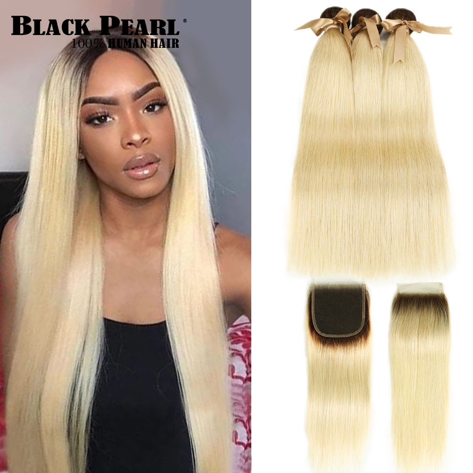 Black Pearl Ombre Bundles With Closure Brazilian Straight Hair 613 Honey Blonde Bundles With Closure Remy 613 Hair Extensions