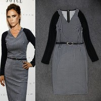 2015 Rushed Limited Natural Batik Women Dress Victoria Beckham Grid Houndstooth Pencil Dress V Neck Long