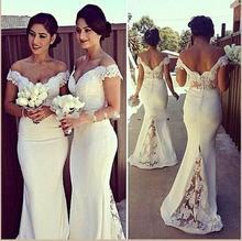 Hot 2016 Mermaid Deep V-neck Floor Length Ivory Lace Long Bridesmaid Dresses Cheap Under 50 Wedding Party Dresses