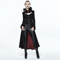 Дьявол Мода дворец Благородный черный, красный тиснением для женщин длинная куртка осень зима панк Высокий воротник пикантные благородны