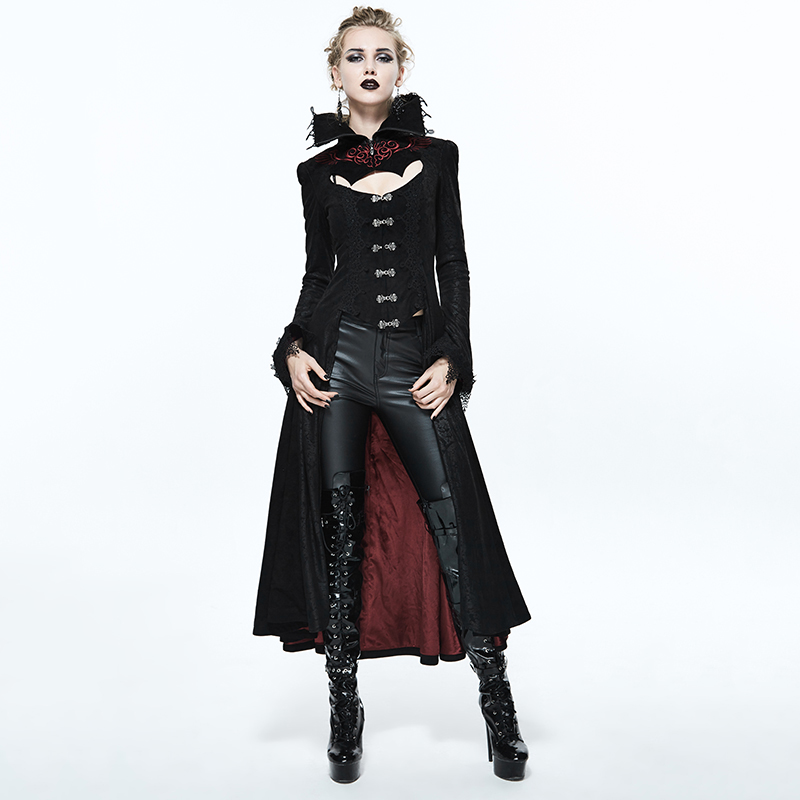Devil Fashion Palace Noble Black Red Embossed Women Long Jacket Autumn Winter Punk High Collar Sexy Nobler Lady Corset Overcoats