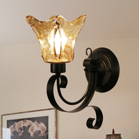 Mediterranean antique wall lamp, European antique black iron art tea glass wall lamp, bedroom bedside aisle lamps