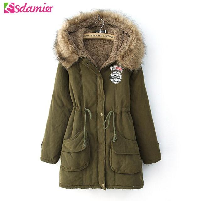 563e2315b56c New Fashion Women s Military Down Jacket Slim Winter Jacket Women Army  Green Thick Warm Hooded Parka Women Coat With Fur XXXL