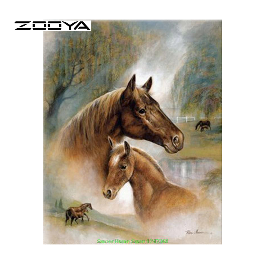 ZOOYA Diamond Painting Diamond Embroidery Crafts DIY Home Decor Diamond Embroidery Picture Mosaic Pattern Mom Baby Horse SF114