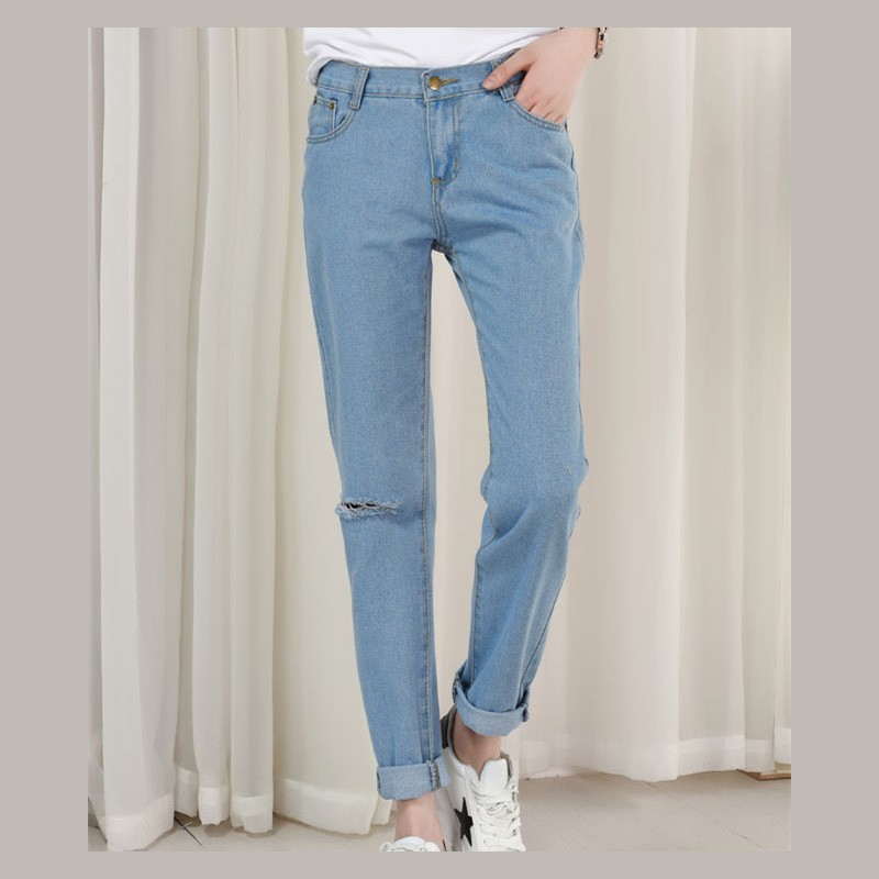 2017 New Summer Barajuku Boyfriend Style Denim Capri Harem Pants For Women High Waist Push Up Fashion Ripped Hole Jeans Trousers women jeans autumn new fashion high waisted boyfriend street style roll up bottom casual denim long pants sp2096
