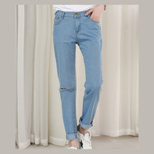 2017 New Summer Barajuku Boyfriend Style Denim Capri Harem Pants For Women High Waist Push Up Fashion Ripped Hole Jeans Trousers