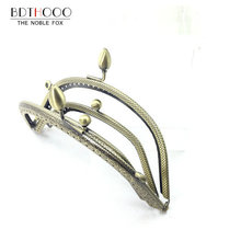 10pcs/ Set 14cm Metal Purse Frame Handle for Clutch Bag Handbag Accessories Making Kiss Clasp Lock Antique Bronze Bags Hardware