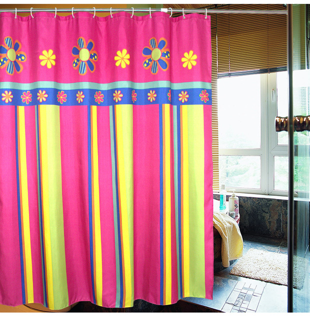 Exotic Stripes Flowers Rose Red Shower Curtain Polyester Waterproof Bathroom Partition 180x180cm