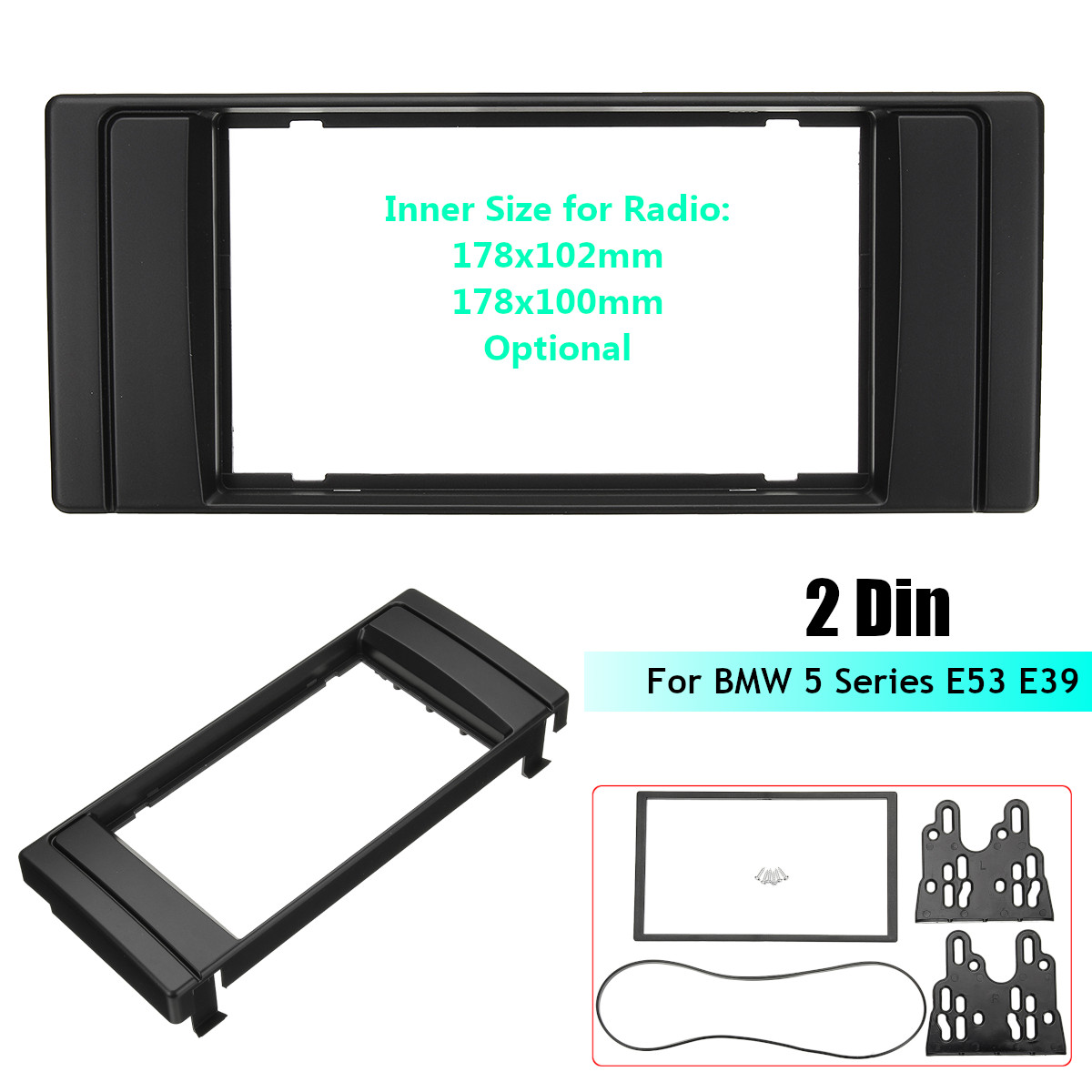 178 x 102mm/178 x 100mm 2 Din Car Stereo Radio Fascia Panel Plate Frame Dash Mount Kit Adapter for BMW 5 Series E53 E39 2 din car radio stereo fascia panel frame dvd dash installation kit for ssang yong tivoli 2015 with 178 102mm 173 98mm