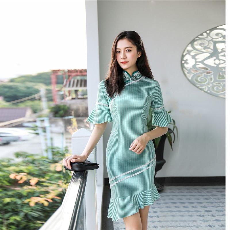 Зеленое платье длиной до колена с воротником мандарина в традиционном китайском стиле, элегантное женское платье на пуговицах ручной работ