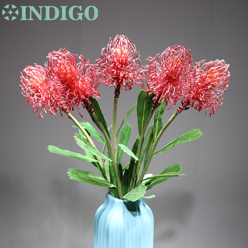 5pcs Red Leucospermum Cordifolium Hydrangea Nutans Flower Wedding Flower Floral Event Party Table Flower Free Shipping in Artificial Dried Flowers from Home Garden