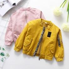 b112d85842 Baseball jacke mädchen herbst baby kleidung brief druck kinder jacke mantel  jungen unisex junge jacke gelb rosa mantel für junge.