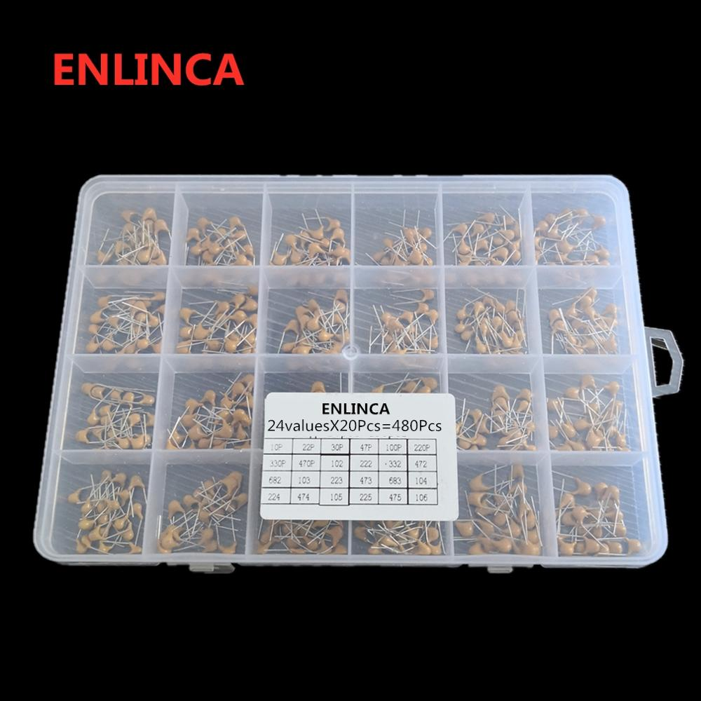 24values*20pcs =480pcs Monolithic Ceramic Capacitor 10pF~10uF,ceramic Capacitor Assorted Kit 1UF 100NF 330NF 0.1UF 102 104 105