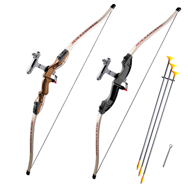 Children Recurve Send Sucker Bows Children Safe Outdoor Sports Bow with 3pcs Scuker Arrows for Shooting Game