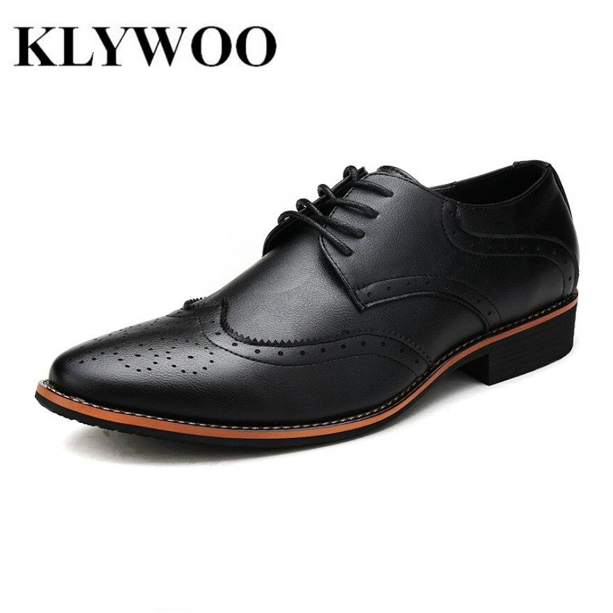 KLYWOO Новый Обувь с перфорацией; туфли-оксфорды для Мужские модельные туфли из микрофибры кожаные офисные туфли Мужская деловая обувь мужска...