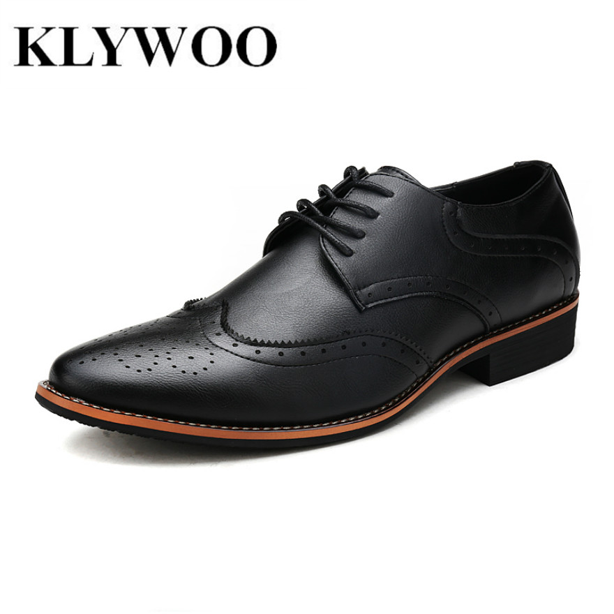 KLYWOO New Brogue Oxford Shoes For Men Dress Shoes Microfiber Leather Office Shoes Men Formal Shoes Zapatos Hombre Mens Oxfords new brush oxford shoes for men slip on pointed toe fringe oxfords men shoes leather causal formal men dress shoes zapatos hombre