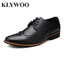 KLYWOO New Brogue Oxford Shoes For Men Dress Shoes Microfiber Leather Office Shoes Men Flats Zapatos Hombre Black Mens Oxfords