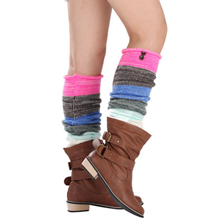 2019 Fashion Autumn And Winter New Mixed Color Stripes 2 Buttons Long Paragraph Over The Knee Wool Socks  Women's  Legsleeve