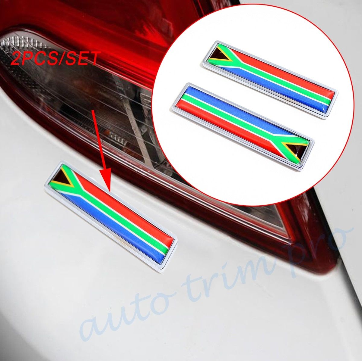 2pcs Chrome Car Motor Exterior Parts 3D Sticker Decal South Africa Nation Flag Emblem Badge Symbol Accessories
