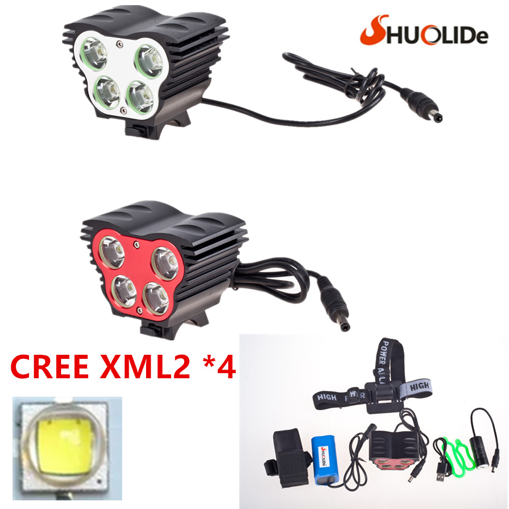 New3500 lumens 4*CREE XML2 T6 bicycle light bike light Bicycle Light LED Flashlight Headlamp + 8.4V Charger + 8000mAh Battery цены