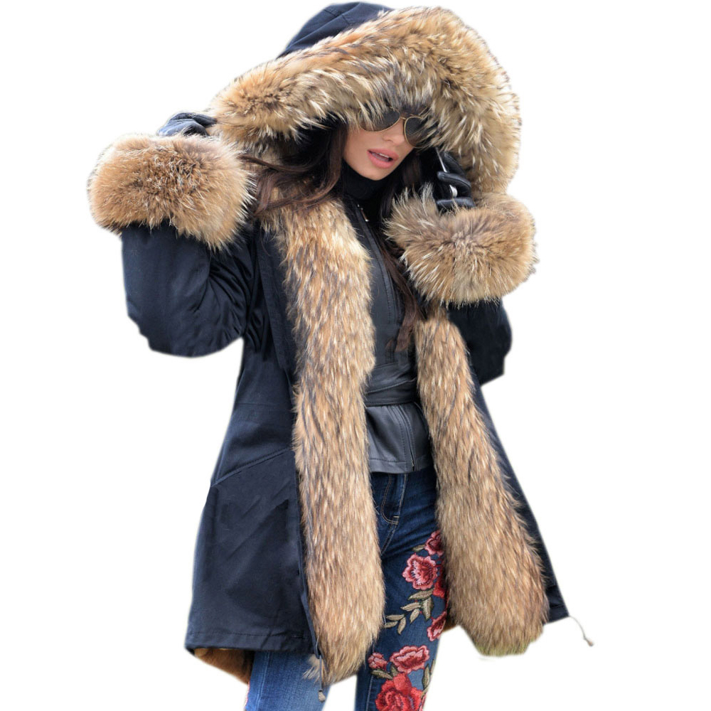 Roiii 2018 Winter Luxury Parka Women Down Padded Jacket Thicken Military Chic Faux Fur Hood Long Outwear Female Warm Cotton Coat