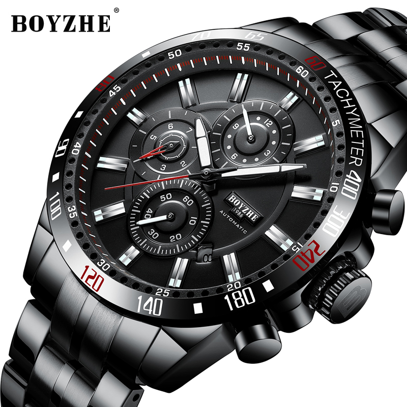 2019New BOYZHE Men Automatic Mechanical Fashion Top Brand Sport Watch Man Luminous Military Stainless Steel Watches