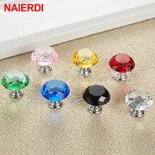 NAIERDI 30mm/40mm Diamond Shape Design Crystal Glass Knobs Cupboard Pulls Drawer Kitchen Cabinet Handles Furniture Handle