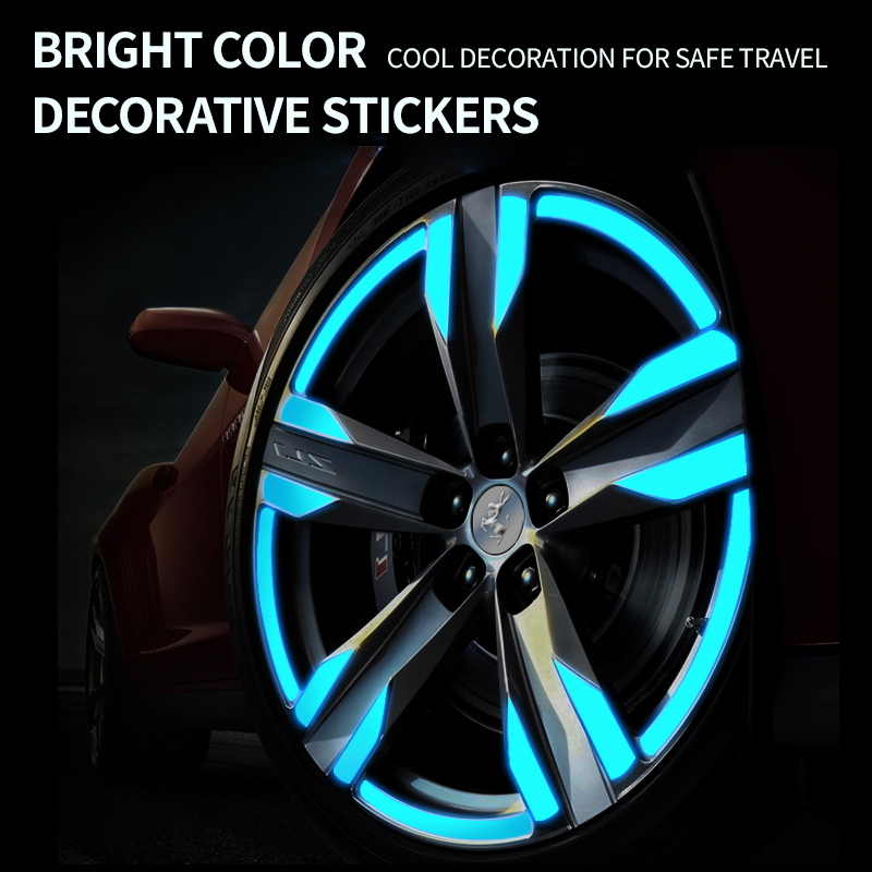 Automobile wheel hub decorative tire reflective sticker Luminous dead-fly accessory for motorcycle bicycle body anti-collision s