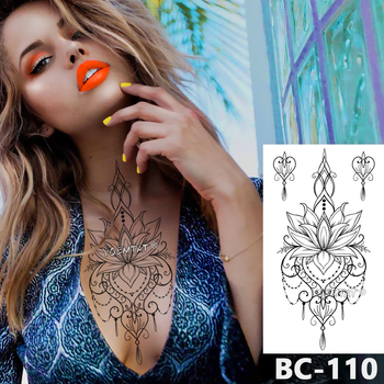 1 Sheet Chest Body Tattoo Temporary Waterproof Jewelry Lace Totem Lotus Mandala tatto Decal Waist Art Tatoo Sticker Women 1