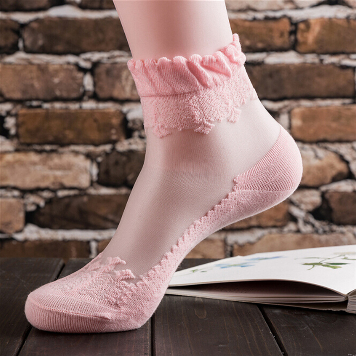 Women Floral Lace Ruffle Lacework Frilly Embroidered Short Ankle Socks NEW