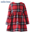 New Spring Little Teenage Girls Long Sleeve Beautiful Red Plaid Dress for Kids, Baby Girl Dress Kids Girls Cotton Causal Dresses