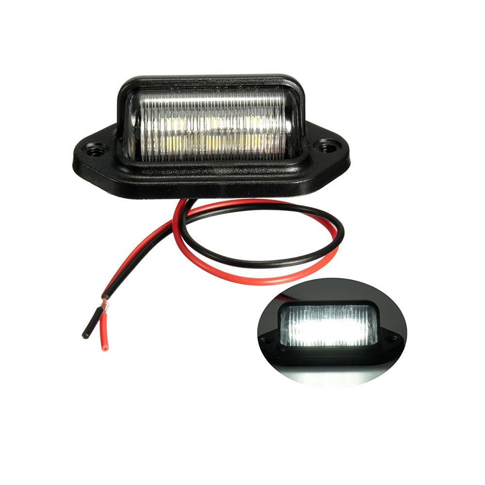 12-24V 6LED Truck Number Plate Light License Tail Light Step Lamp Tag Light White For Boat RV Motorcycle Trailer Lorries Caravan(China)