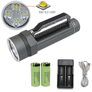 Diving Flashlight Waterproof Torch Light 4*XM-L2 LED Underwater Flashlight Scuba Lanterna + 26650 Battery + USB Charger
