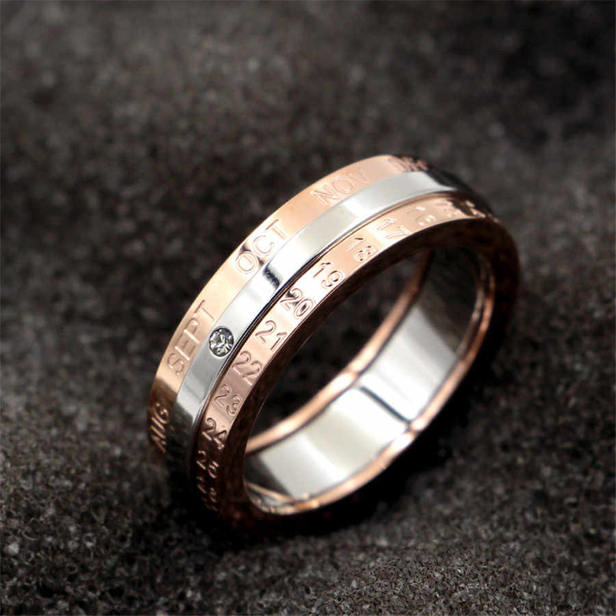 Martick Classic Design Rotation Calendar and Date Ring Titanium Steel Rose Color Middle Silver Brand Ring Woman Jewelry