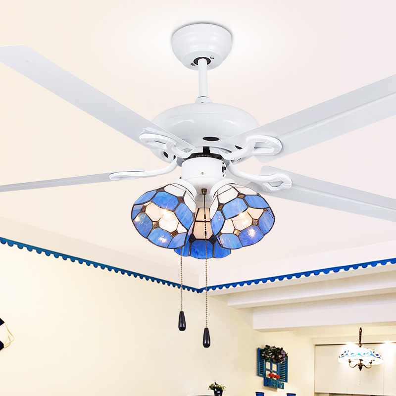 Ceiling fan LED Chandelier European style living room bedroom from Mediterranean style simple restaurant ceiling fan lamp simple crystal hidden ceiling fan lamp restaurant fan room living room bluetooth music live fan lamp home romance