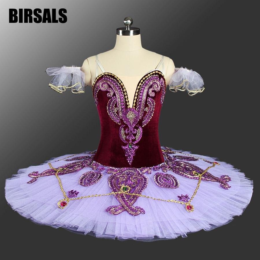 866bc9a89 Mujeres Traje Clásico Tutu Ballet Danza Profesional Ballet Tutu Disfraces  Competición Plato Púrpura BT9085